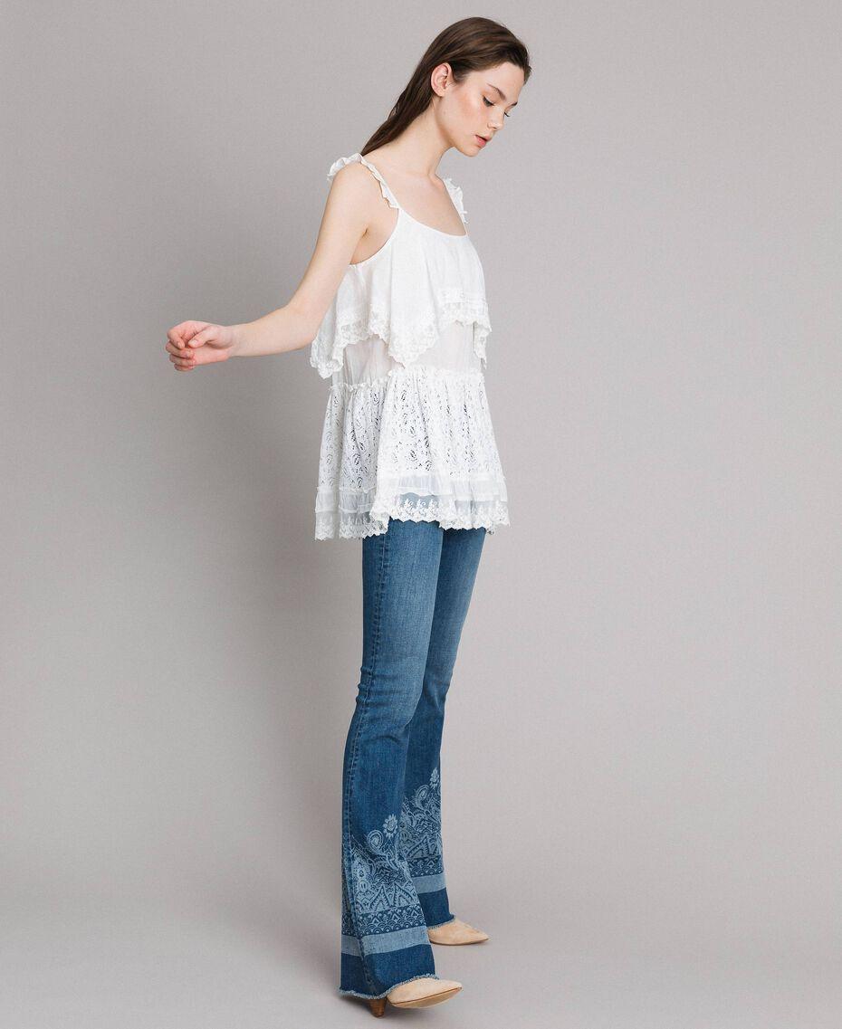 Топ с вышивкой и кружевом Off White женщина 191MT2271-01