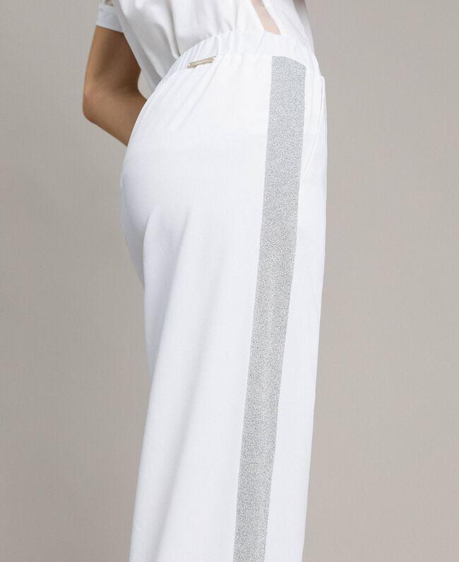 Jogging trousers with lurex panels White Woman 191LL25KK-04