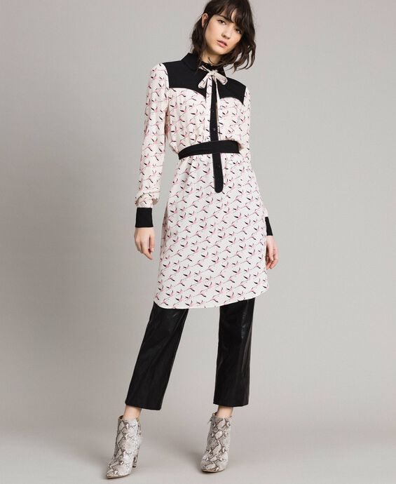 Flamingo print shirt dress