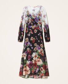 Длинное платье из жоржета с цветочным рисунком Принт Деграде Цветы Черный / Слоновая кость женщина 202TT2380-0S