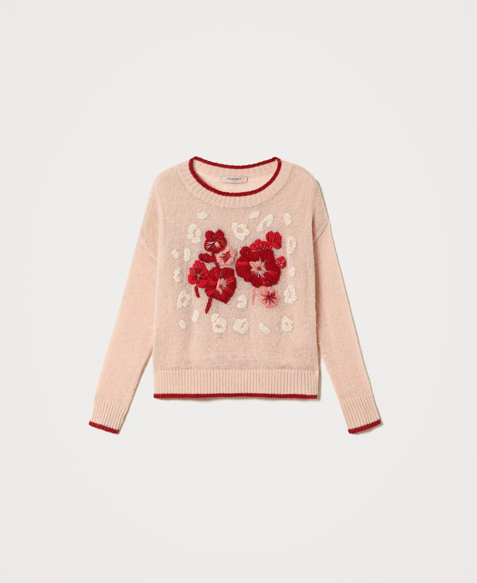 Mohair blend jumper with floral embroidery Peach Woman 202TP3430-0S