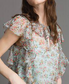 Top en georgette à imprimé floral Imprimé Bouquet Aigue-marine Femme 191TP2570-05