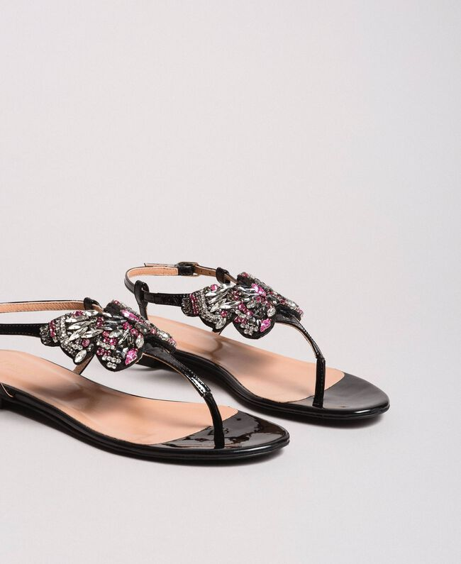 Leather sandals with jewelry butterfly Black Woman 191TCP106-01