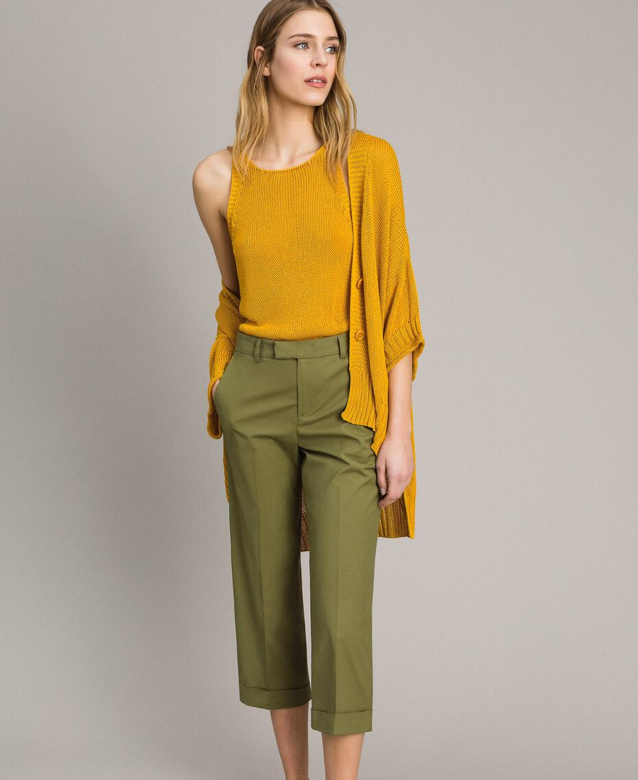 """Pantalon en popeline Vert """"Olive"""" Femme 191TT2232-01"""