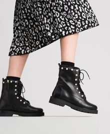 Leather combat boots with pearls Black / White Pearl Woman 192TCP034-0S
