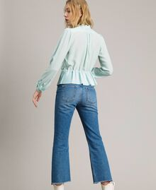 Pleated silk blend shirt Acquamarine Woman 191TP2140-03