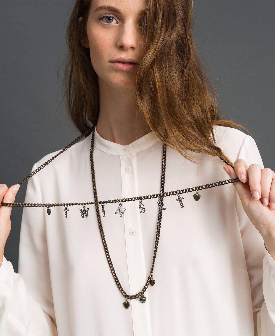 Collier avec rangées de chaîne et pendentifs Bicolore Cristal / Noir Diamant Femme 192TA4369-0S