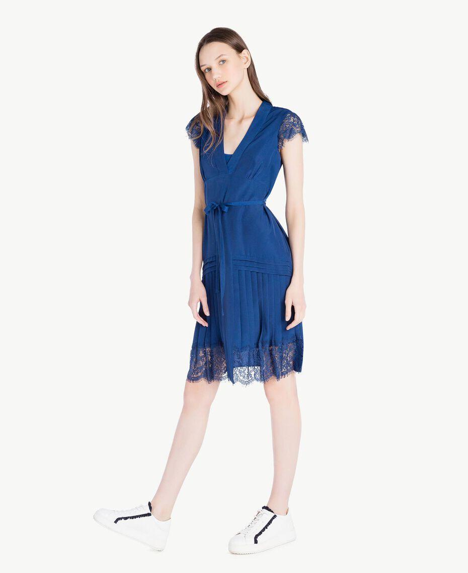 """Kleid mit Spitze """"Navy Peony""""-Blau Frau SS82GQ-02"""