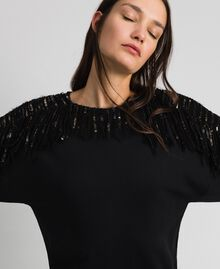 Oversize sweatshirt with sequin embroidery and fringes Black / Dark Gold Sequins Woman 192TT2481-05