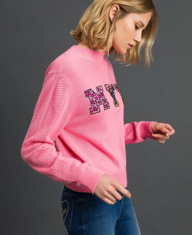 Pull boxy en laine mélangé Rose «Dragées» Femme 192MP3140-01