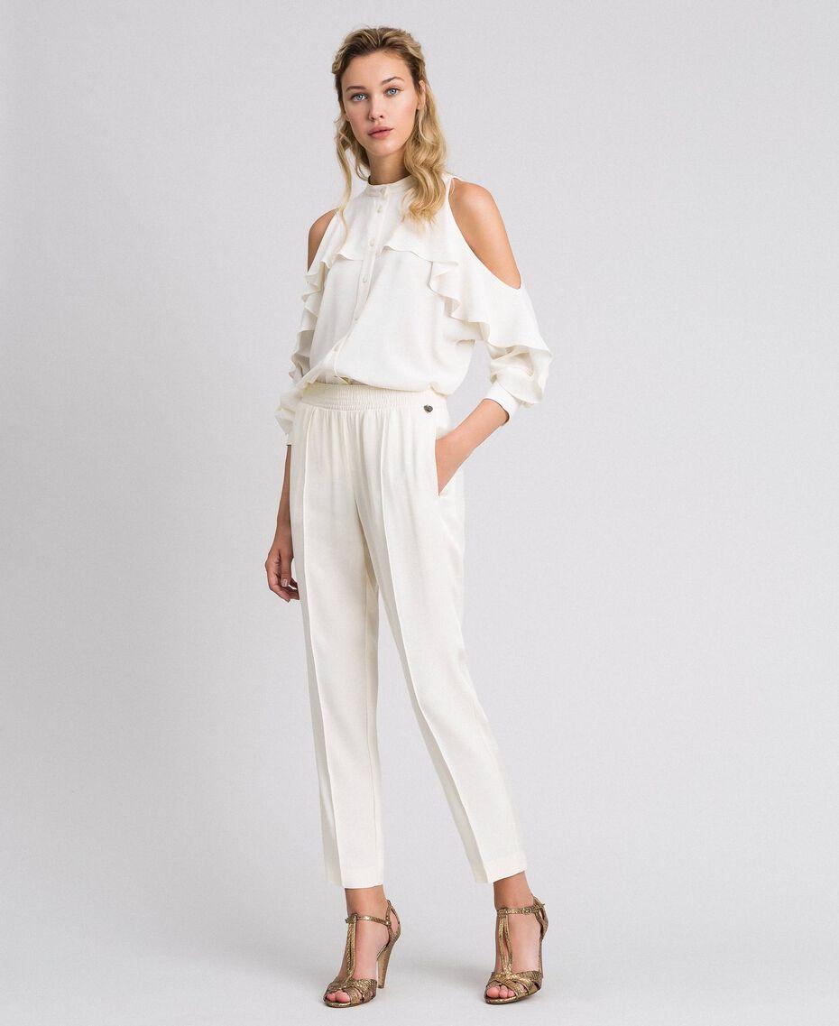 Crêpe de Chine shirt with frills White Snow Woman 192TT2432-0T