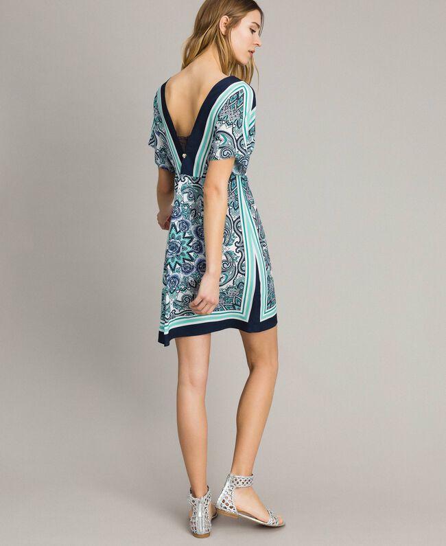 Robe en crêpe de Chine avec imprimé foulard Imprimé Foulard Dressing Bleu Nuit Femme 191MT2123-03