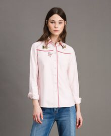Denim shirt with butterfly Pink Pearl Woman 191TP2630-02