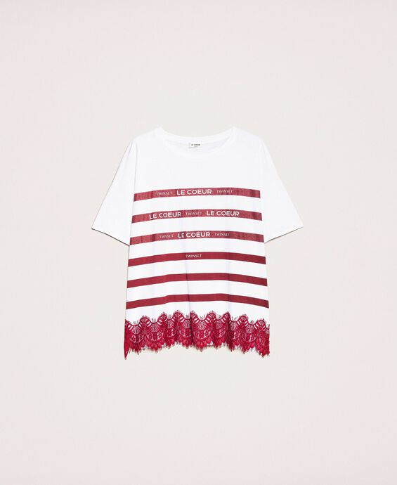 Oversize striped T-shirt with logo and lace