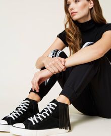 Leather trainers with fringes Black Woman 212TCP100-0S