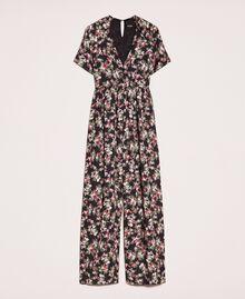 Крепдешиновый комбинезон с цветочным рисунком Принт Цветочный Черный женщина 201MP2372-0S