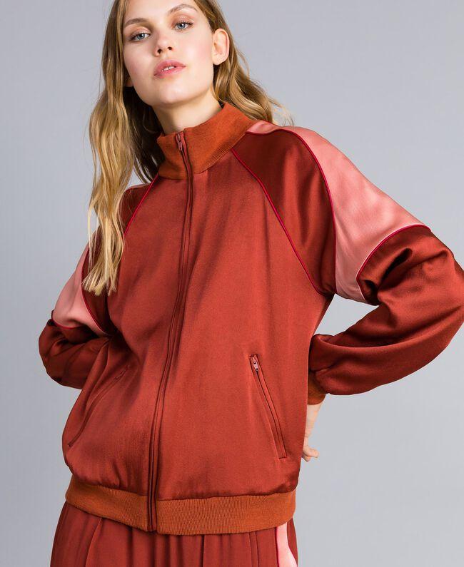 Sweat bicolore en envers satin Bicolore Orange Brûlée / Rose «Sable Rose» Femme TA824U-01