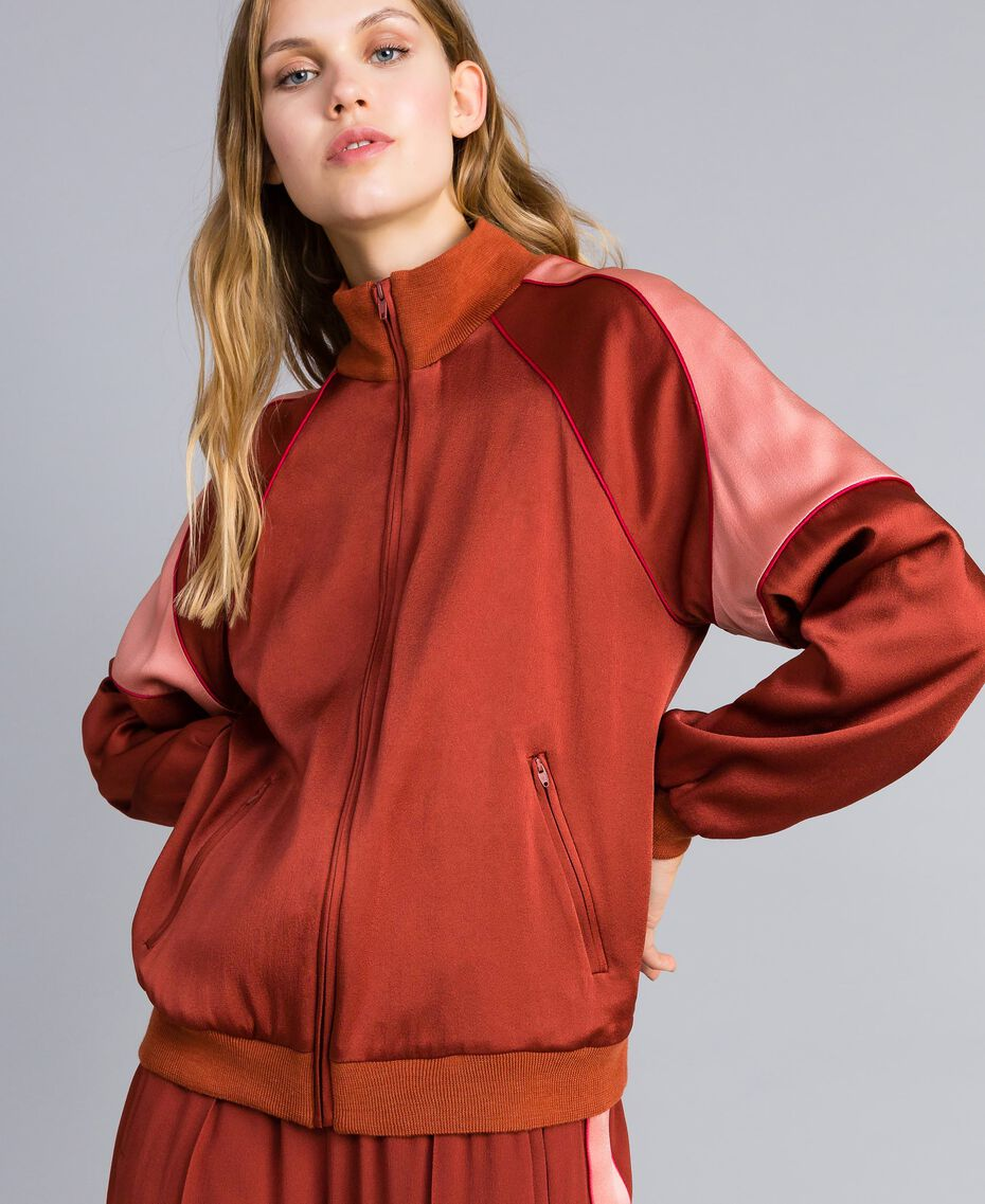 "Felpa bicolore in envers satin Bicolor Arancione ""Bruciato"" / Rosa ""Pink Sand"" Donna TA824U-01"