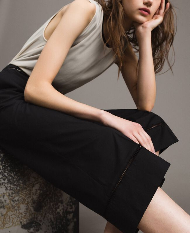 Poplin trousers with embroideries Black Woman 191TT2244-01