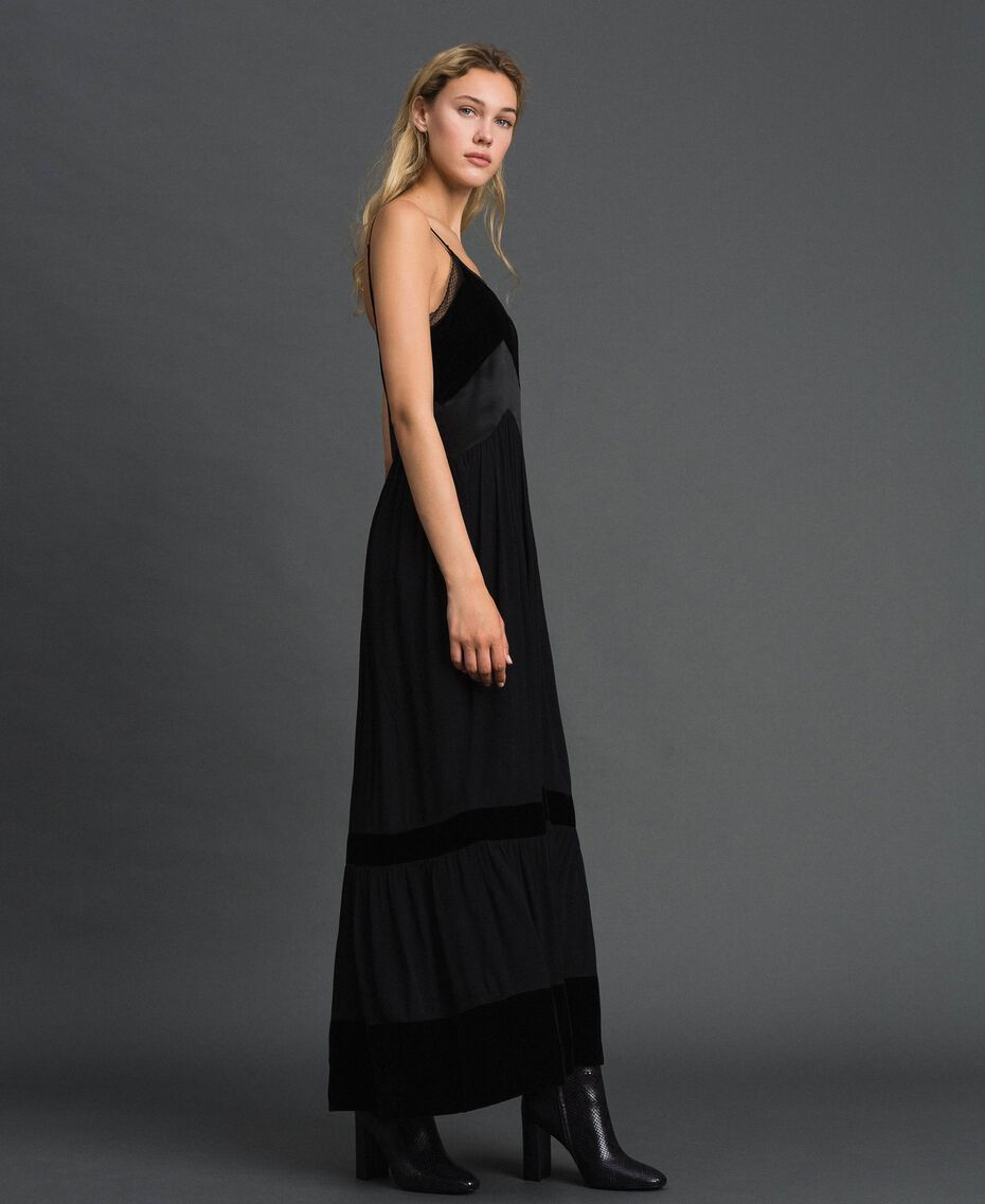 Slip dress with velvet details Black Woman 192TT2280-01