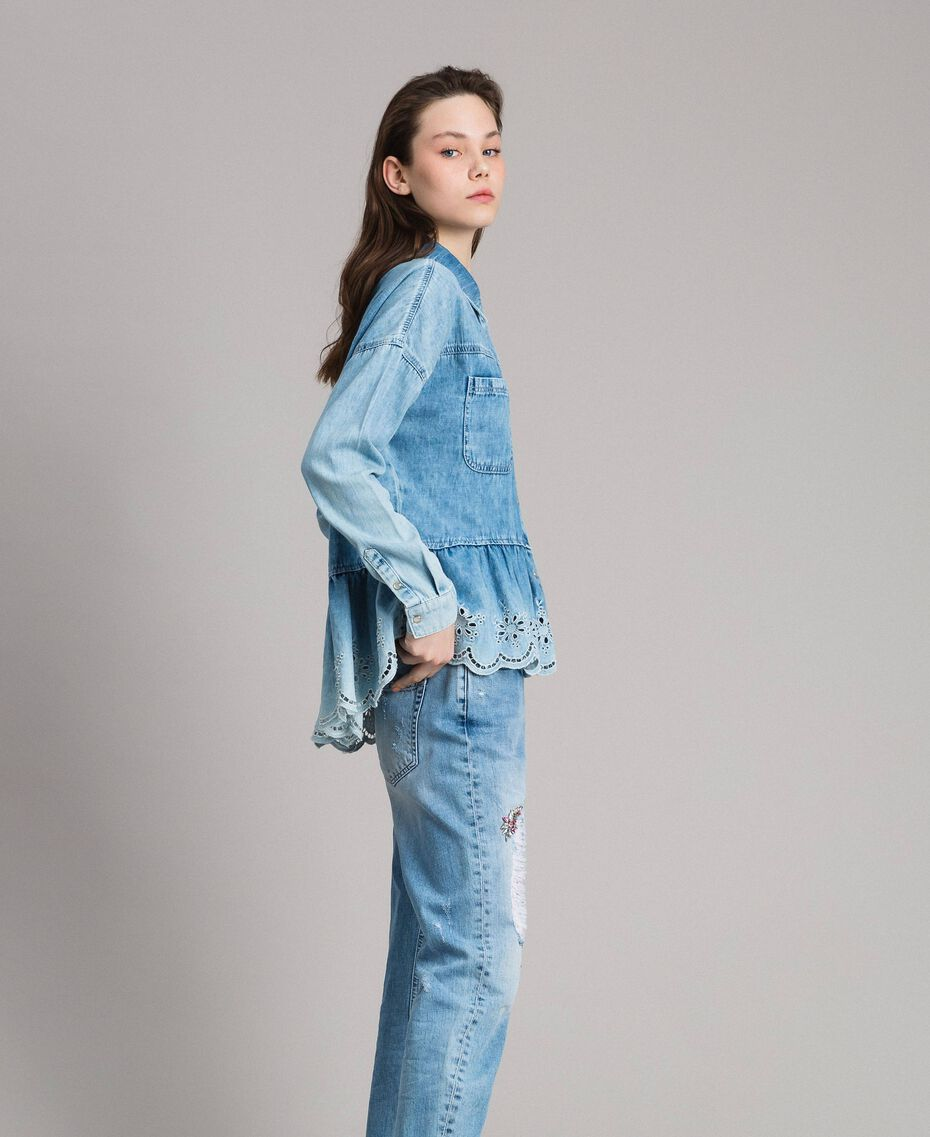 Denim shirt with broderie anglaise and flounce Denim Blue Woman 191MP2018-02
