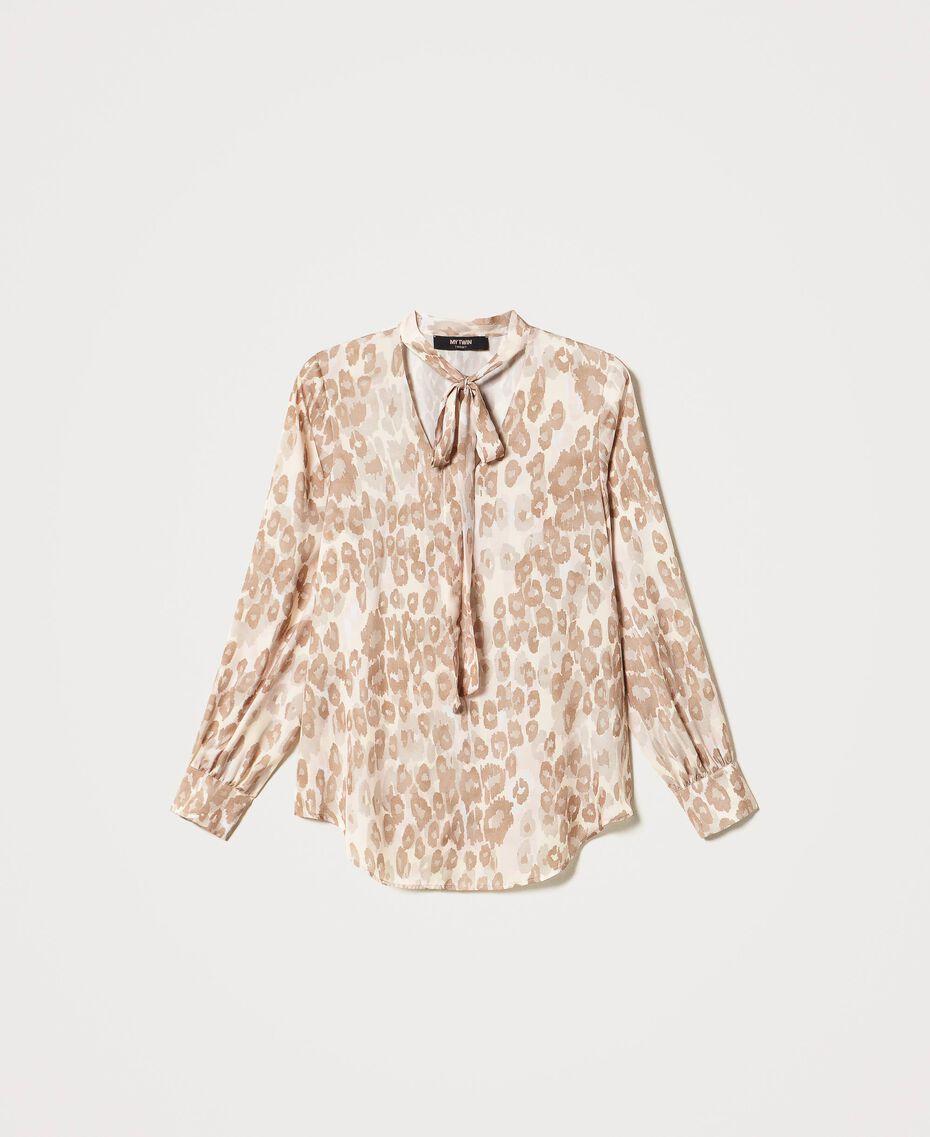 "Animal print satin blouse ""Dune"" Beige Animal Print Woman 202MP243D-0S"
