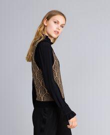 Gilet en laine mélangée et lurex jacquard Jacquard Noir Or Lurex Femme TA8321-03
