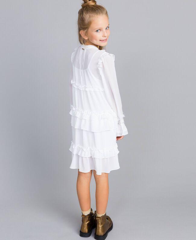 Robe volantée en crêpe georgette Off White Enfant GA82HA-04