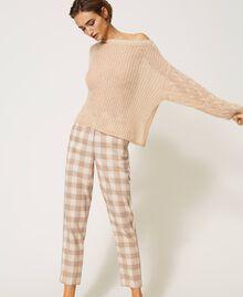 Pantalon cigarette en tissu à carreaux Prince-de-Galles Carreaux Blanc Crème / Beige «Dune» Femme 202MP228B-06
