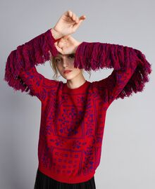 """Maxi jacquard jumper with fringes Two-tone """"Blackberry"""" Purple / Cherry Red Woman QA8TBN-02"""