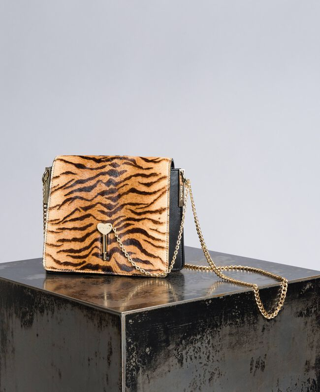 Leather and calf hair shoulder bag Tiger Print Woman OA8TDT-01