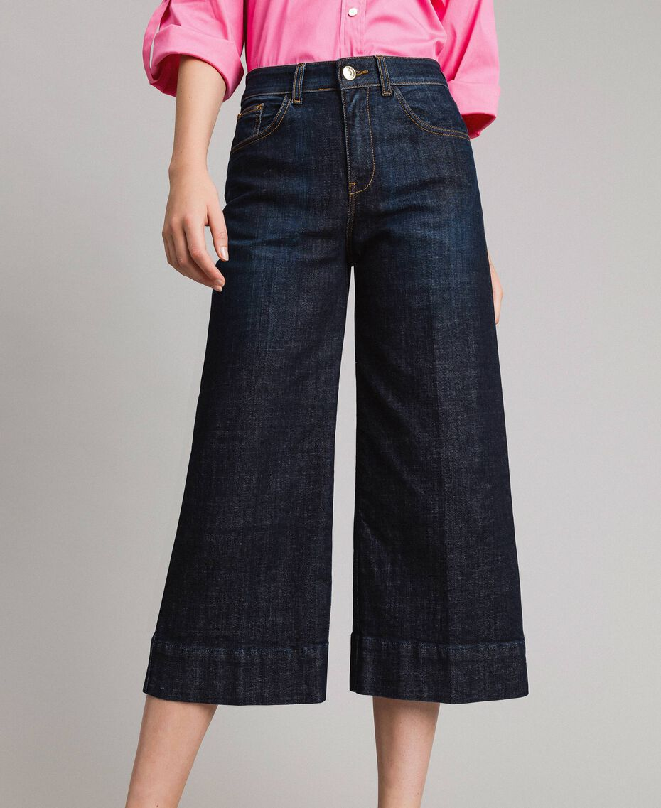 Jeans wide leg cropped Denim Blue Donna 191MP2470-01