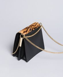 Leather and calf hair shoulder bag Tiger Print Woman OA8TDT-03