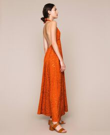 "Long jacquard dress with floral design ""Ace"" Orange Woman 201LB2HAA-01"
