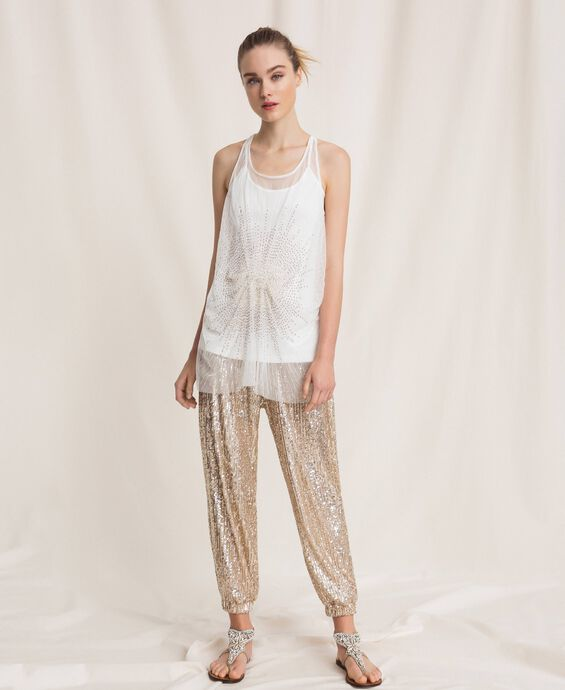 Top lungo in tulle con paillettes