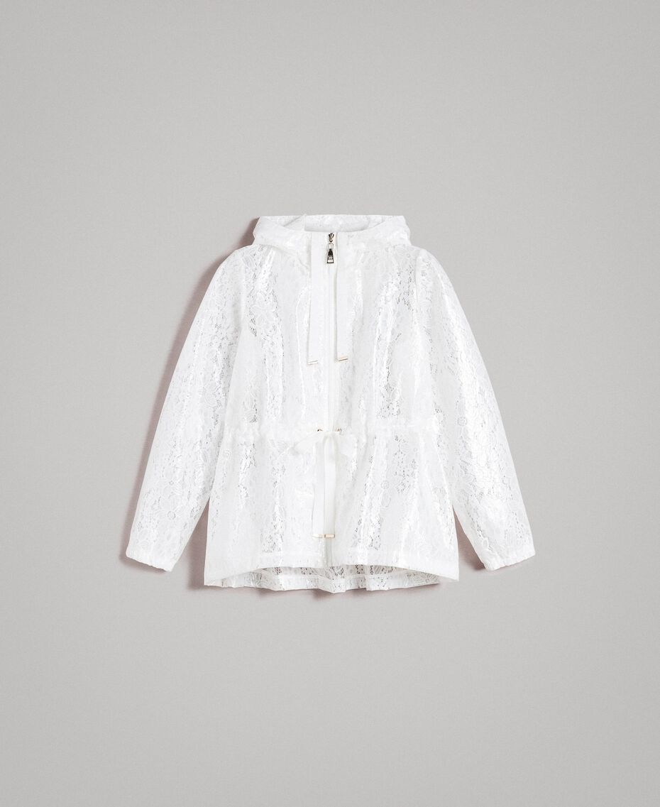 Waxed fabric and lace parka White Woman 191MT2100-0S