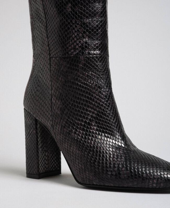 Leather high boots with animal print Dark Green Python Print Woman 192TCP108-04