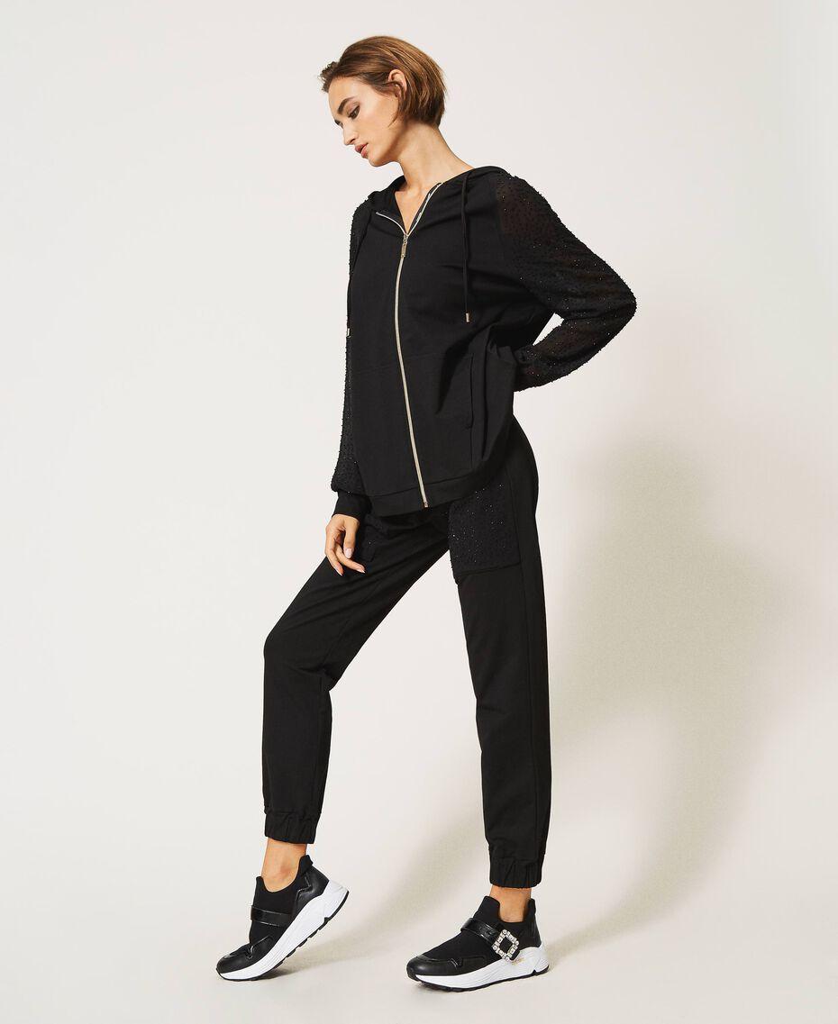 Pantaloni jogging con ricamo Nero Donna 202LI2HQQ-02