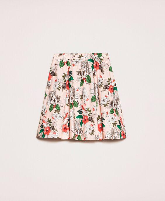 Printed poplin full skirt