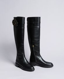 Leather over-the-knee boots with flower Black Woman CA8PNC-02
