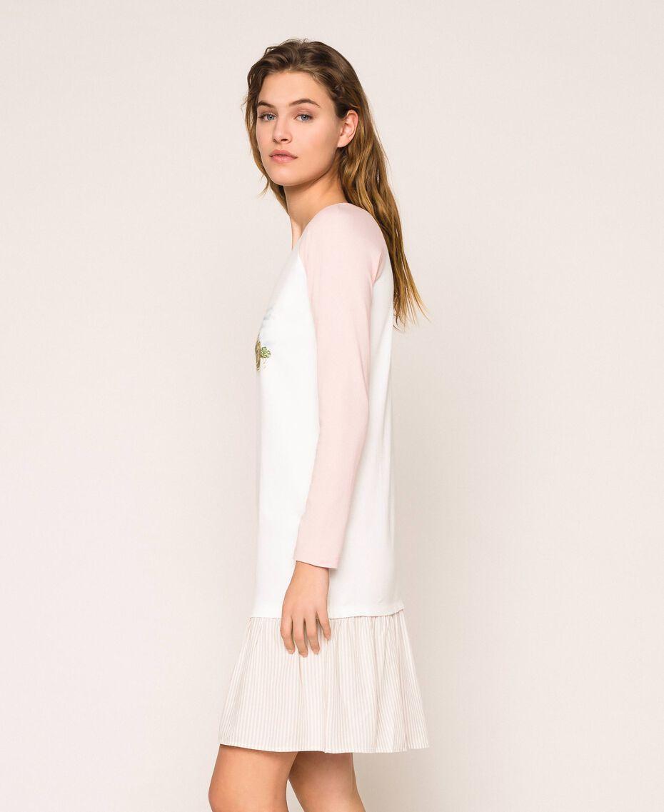 """Camicia da notte con balza Rosa """"Peachskin"""" Donna 201LL27AA-02"""