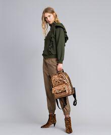 Sweatshirt aus Baumwolle mit Rüschen Waldgrün Frau TA82ZC-0T