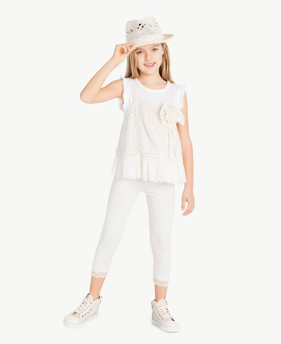 """T-shirt and lace top Two-tone """"Papyrus"""" White / Chantilly Child GS82Z2-05"""