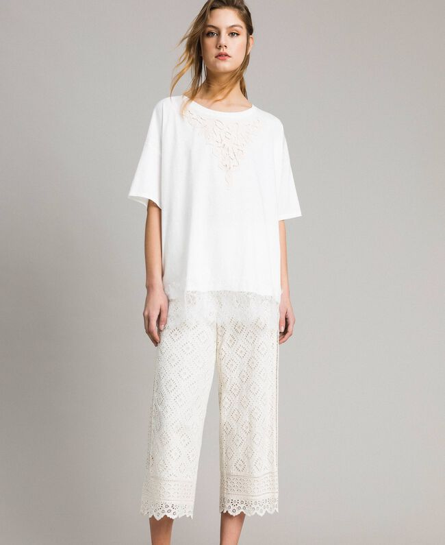 Maxi T-shirt with lace Two-tone Off White / Ecru Woman 191ST2083-01