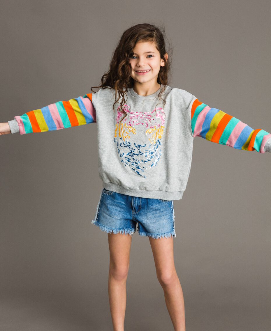 Cotton knitted striped sweatshirt Melange Grey / Multicolour Striping Child 191GJ2451-05