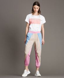 Pantaloni jogging in nylon color block Porcellana Beige Donna 191MP2093-01