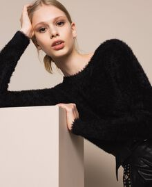 Fur effect yarn jumper-cardigan Black Woman 201TP3091-04