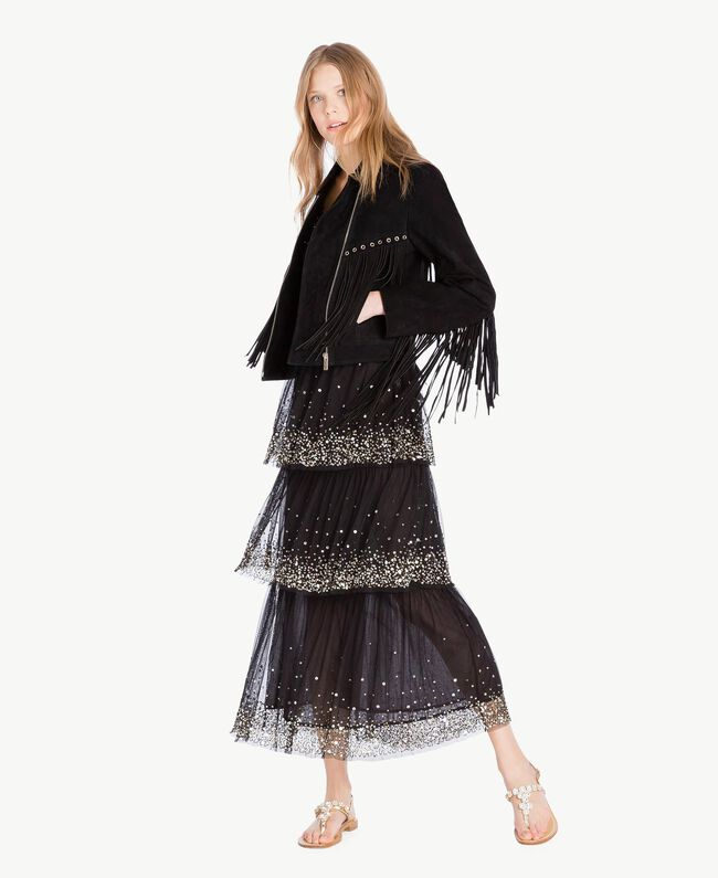 Kleid aus Tüll Schwarz Frau TS82EG-05