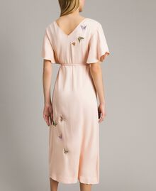 "Satin long dress with butterfly embroidery ""Rose Sand"" Pink Woman 191TT2112-04"