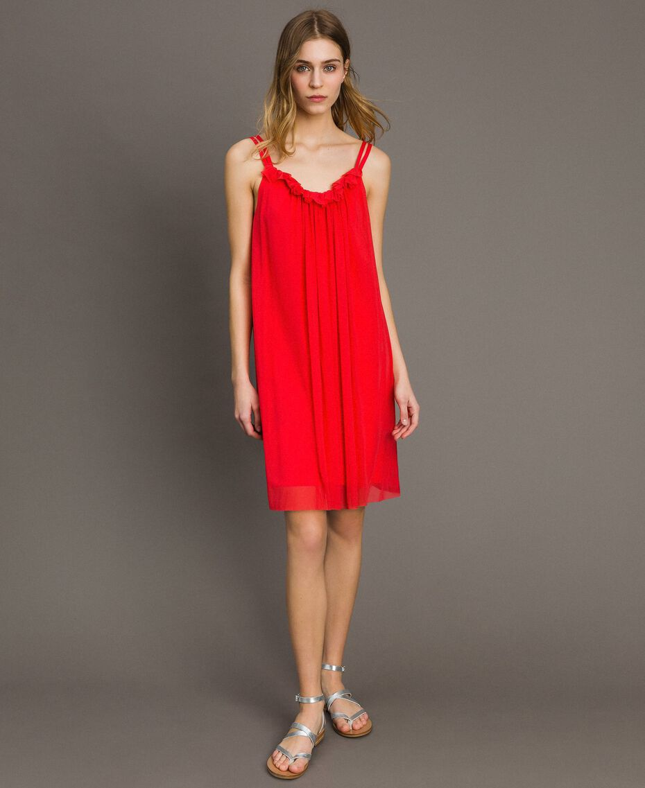 "Tulle dress with shoulder straps ""Framboise"" Red Woman 191LM2FCC-01"
